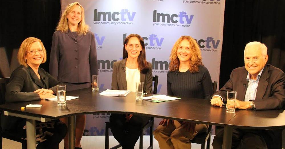 Alice Bloom (host), Alice Pernick (Co-President Larchmont-Mamaroneck League of Women Voters, Sari Winter, Rena Beder, Michael Rosenblum (School Board Candidates).